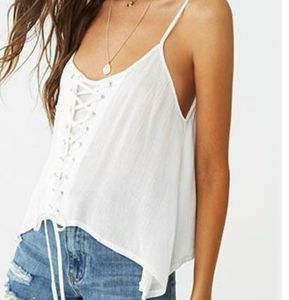 78) 100% Rayon Cami A tank Top Crincled laced up e
